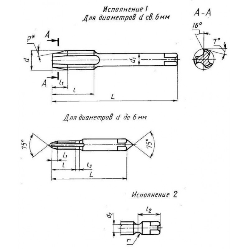 thumb Метчик 2629-2074 ГОСТ 17928 левый исполнения 1 для резьбы М12х1,5