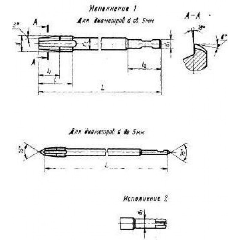 thumb Метчик 2640-0761 ГОСТ 17929 (исполнение 1) для правой резьбы М24х1