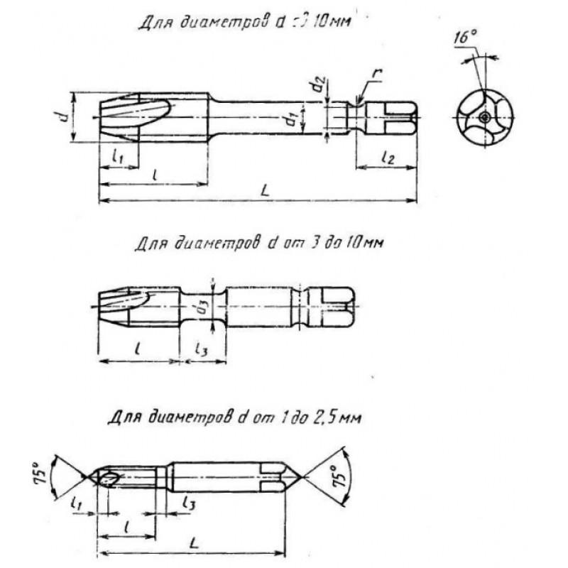 thumb Метчик 2620-0014 ГОСТ 17930 для левой резьбы М1,4х0,2