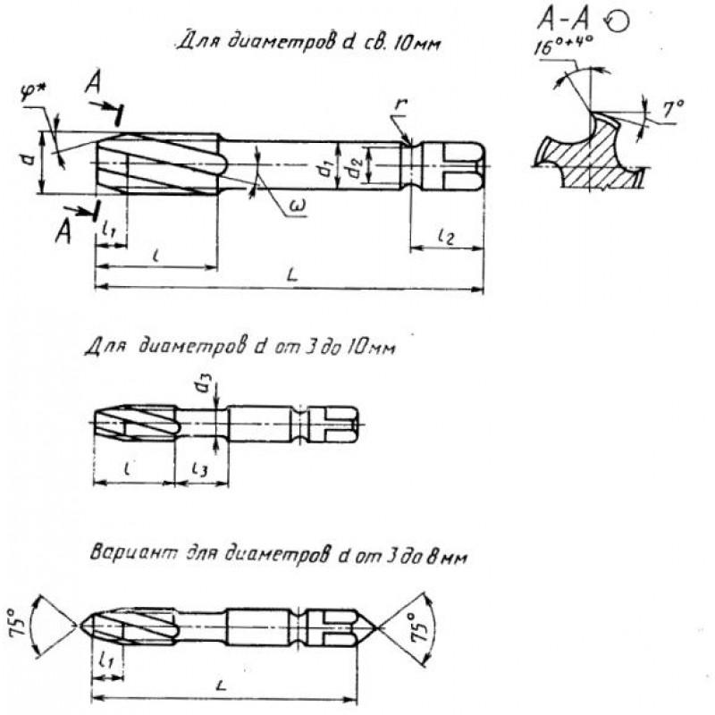 thumb Метчик 2620-3184 ГОСТ 17932 для левой резьбы М9х1