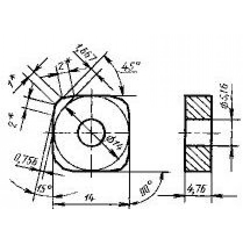 thumb Пластина квадратная SNCA-140400 ВП3115 ГОСТ 19053