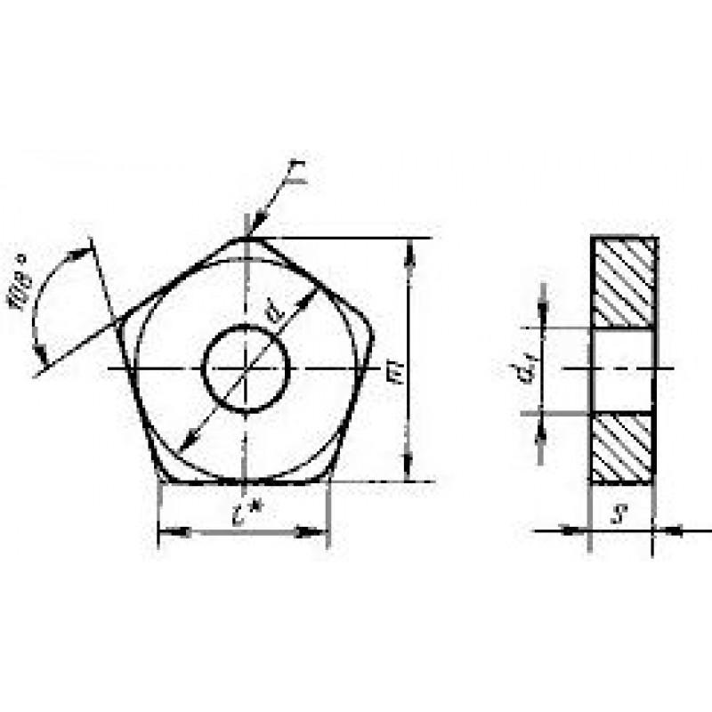 thumb Пластина пятигранная PNUA-160612 ВП1255 ГОСТ 19064