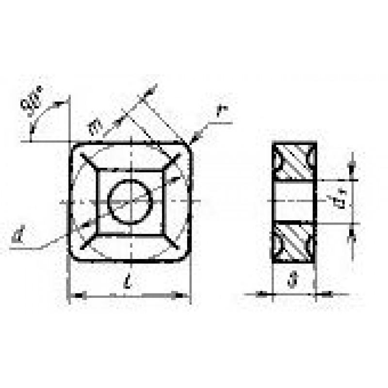 thumb Пластина квадратная SNMG-120408 ВК6 ГОСТ 24248