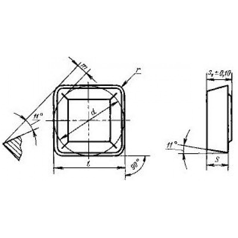 thumb Пластина квадратная SPGR-120308 Т15К6 ГОСТ 24252