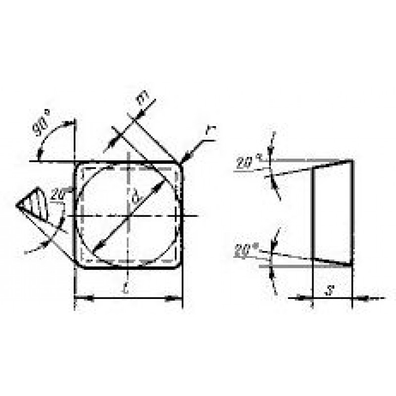 thumb Пластина квадратная SEGN-120308 КНТ16 ГОСТ 24253