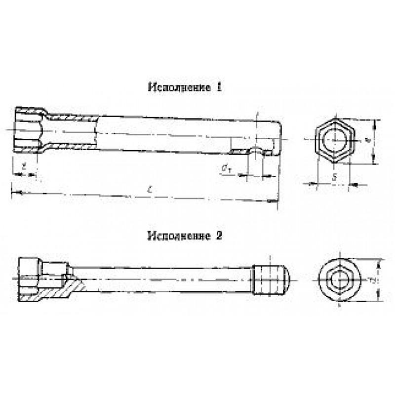 thumb Ключ гаечный торцевой односторонний 6910-0422 с внутренним шестигранником на 13 ГОСТ 25787