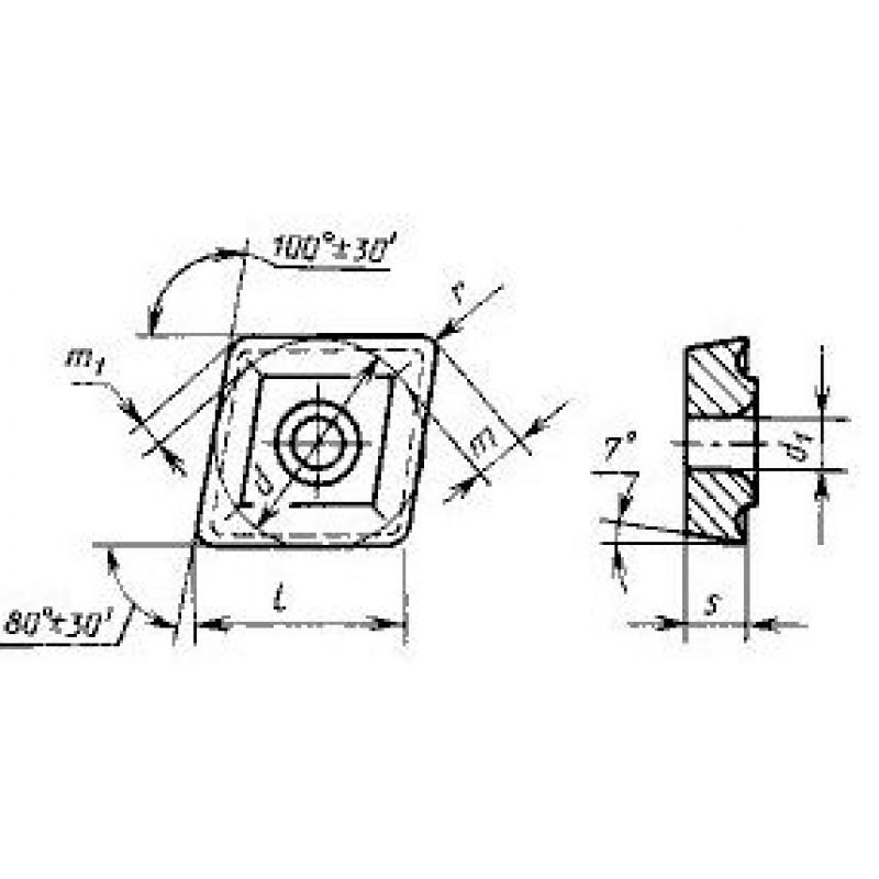 thumb Пластина ромбическая-80 CCMT-190612 ВК6 ГОСТ 27301
