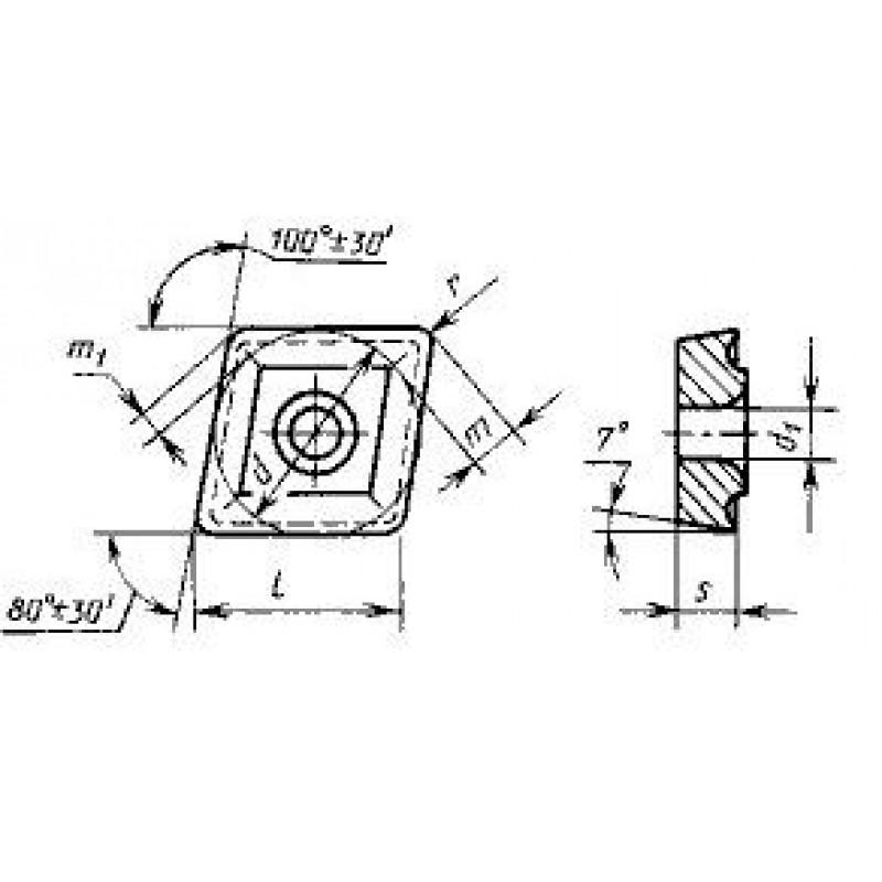 thumb Пластина ромбическая-80 CCMW-160512 ВК6-ОМ ГОСТ 27301