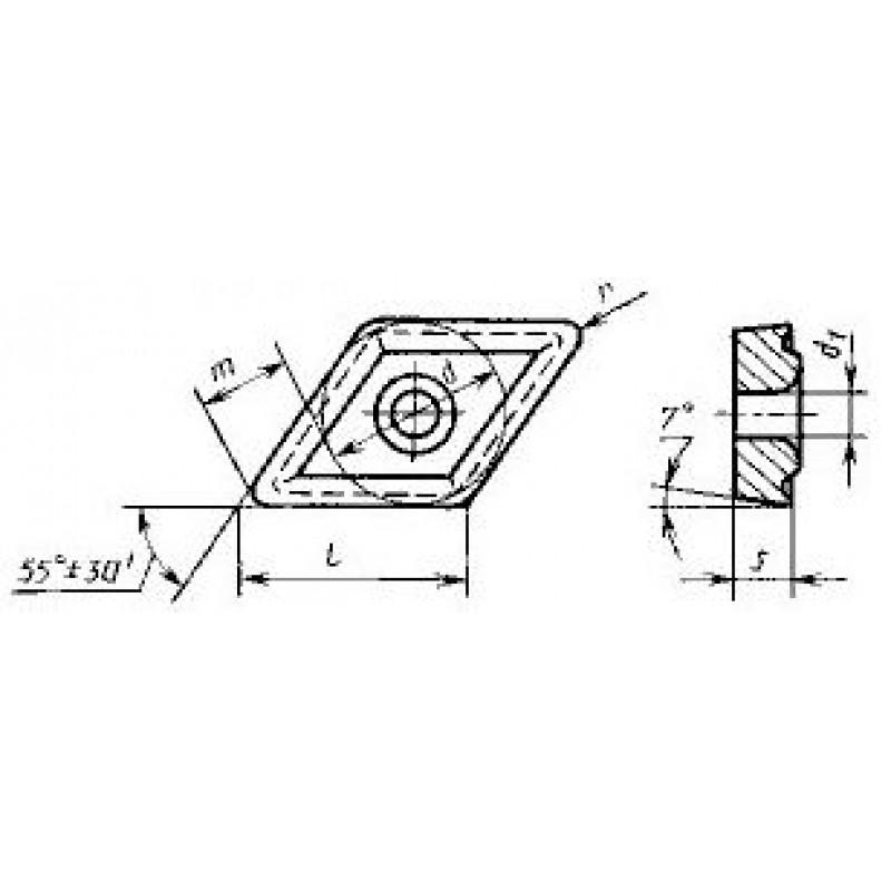 thumb Пластина ромбическая-55 DCMT-070207 ВК6 ГОСТ 27301