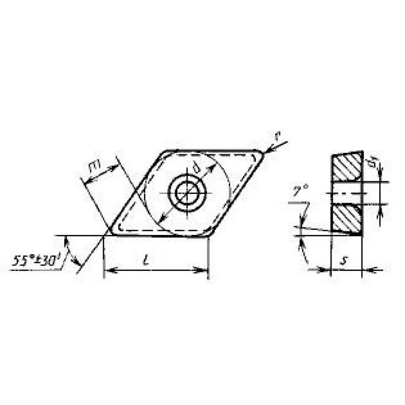 thumb Пластина ромбическая-55 DCMW-150408 Т15К6 ГОСТ 27301