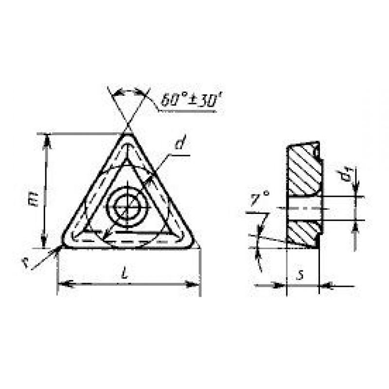 thumb Пластина трёхгранная TCMT-110202 Т15К6 ГОСТ 27301