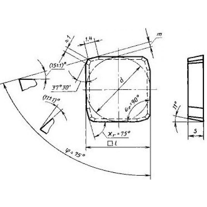 thumb Пластина квадратная SPKN-1504EDR Т15К6 ГОСТ 27302