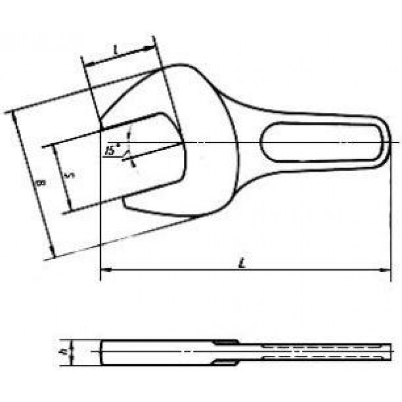 thumb Ключ гаечный с открытым зевом на 225 укороченный (ударный) односторонний 7811-0196 ГОСТ 3108