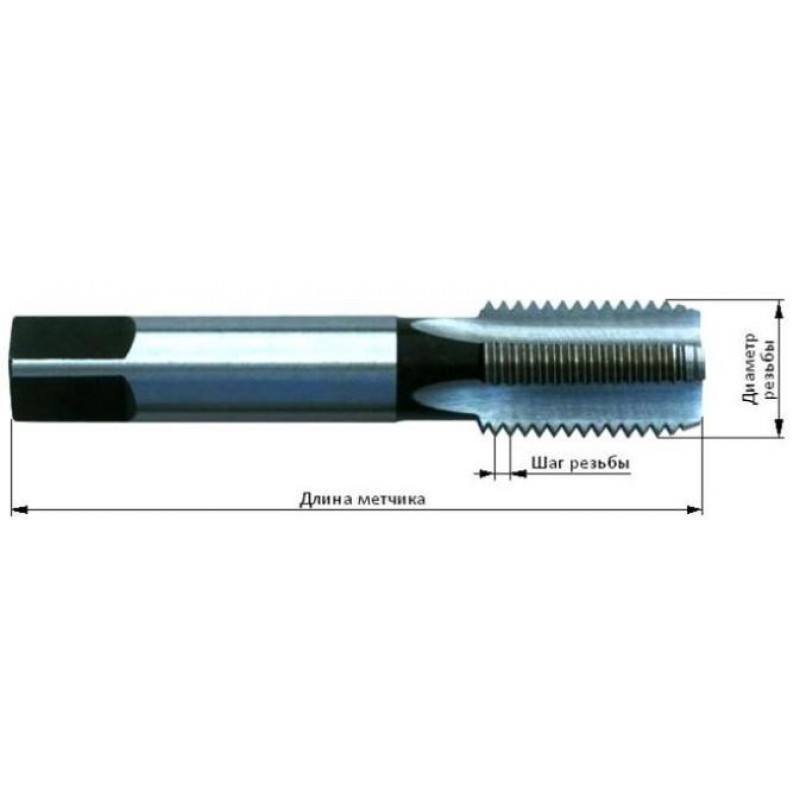 thumb Метчик 2621-2853 ГОСТ 3266 для нарезания правой метрической резьбы 18х2,5 (Исп. 1)